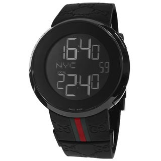 Gucci Men's YA114207 I-Gucci Digital Black Green Red Strap Watch