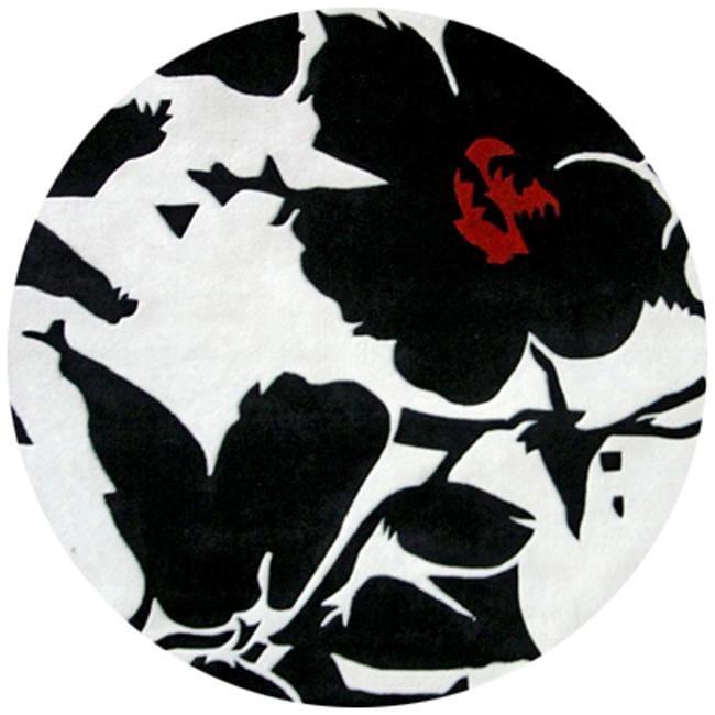 nuLOOM Handmade Pino Black/ White Floral Fantasy Rug (6' Round)