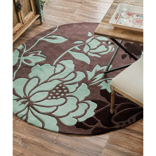 nuLOOM Handmade Pino Yarrow Brown/ BlueFloral Rug (6' Round). Opens flyout.