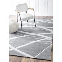 Silver Orchid Robinson Handmade Geometric Grey Modern Area Rug  - 5' x 8'