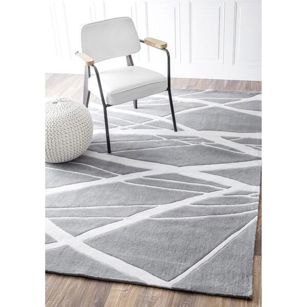 Nuloom Handmade Pino Geometric Grey Modern Byways Rug 7 6