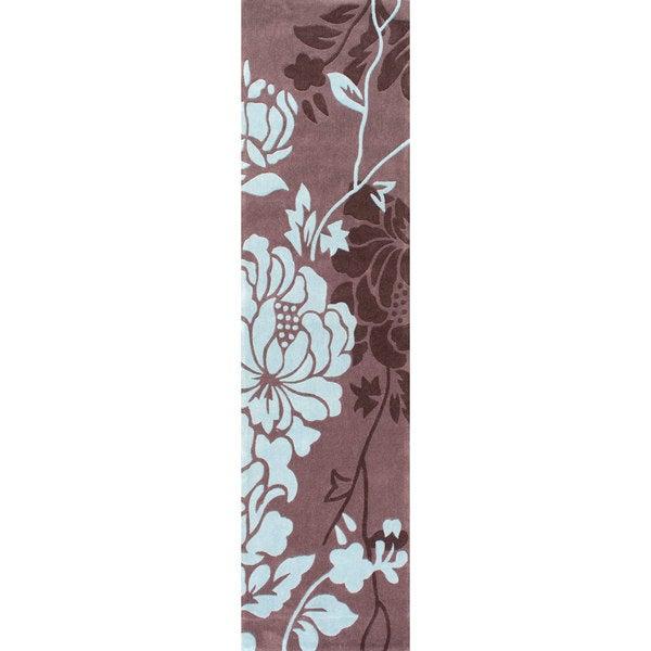 nuLOOM Handmade Pino Yarrow Brown/ BlueFloral Rug (2'6 x 8 Runner)