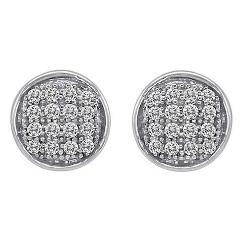 Sterling Silver Genuine White Diamond Stud Earrings