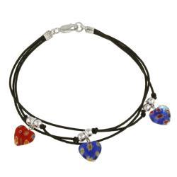 Glitzy Rocks Sterling Silver Multi-colored Venetian Glass Heart Charm Bracelet