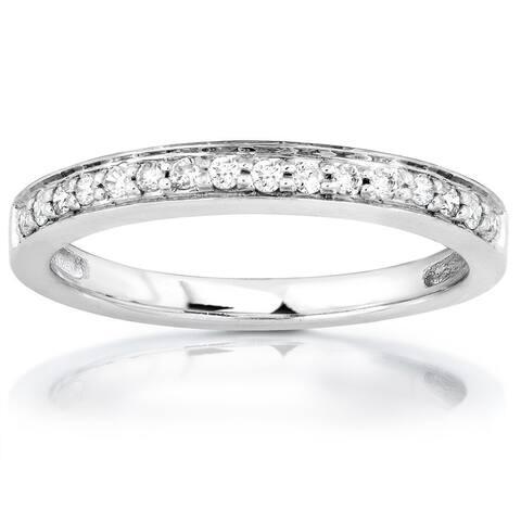Annello by Kobelli 14k White or Rose Gold 1/6ct TDW Diamond Wedding Band
