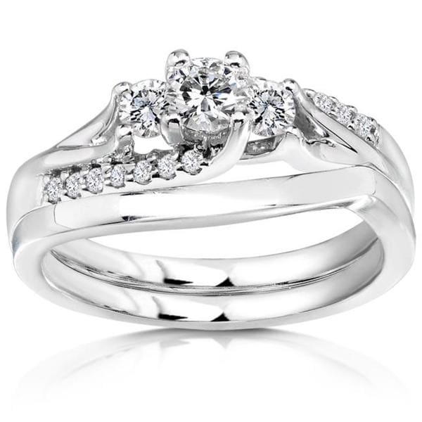Annello by Kobelli 14k White Gold 1/2ct TDW Diamond Bridal Ring Set (H-I, I1-I2)
