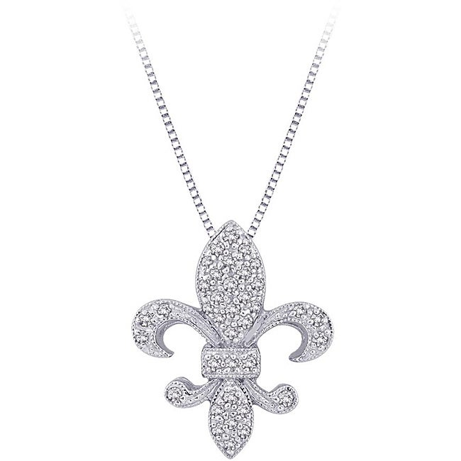 Shop 10k white gold 16ct tdw diamond fleur de lis necklace free 10k white gold 16ct tdw diamond fleur de lis necklace aloadofball