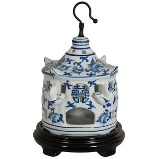 Handmade Porcelain 11-inch Blue and White Floral Bird Cage (China)