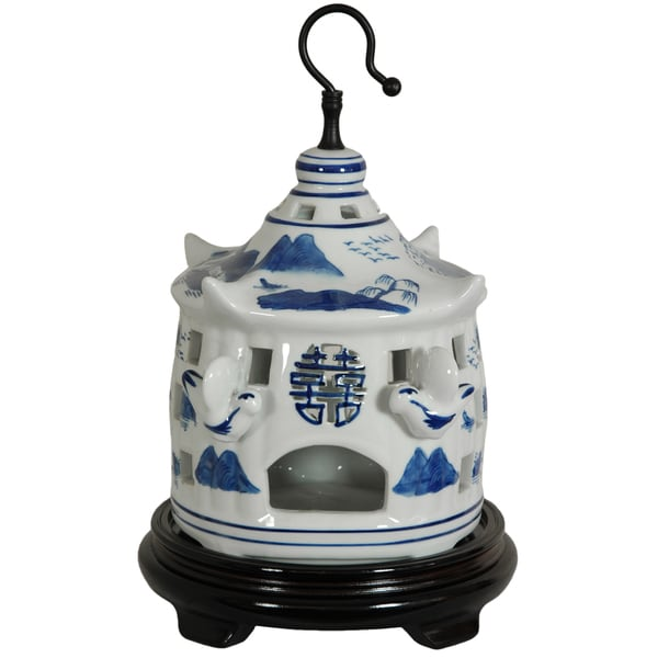 Handmade Porcelain 11-inch Blue and White Landscape Bird Cage (China)