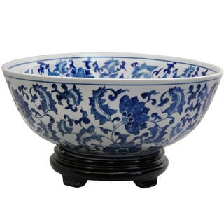 Porcelain 14-inch Blue and White Floral Bowl (China)