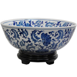 "Handmade 14"" Porcelain Blue and White Floral Bowl"