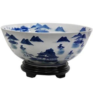 "Handmade 14"" Porcelain Blue and White Landscape Bowl"