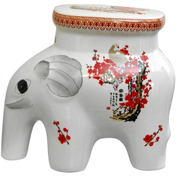 Porcelain 14-inch Cherry Blossom Elephant Stool (China)