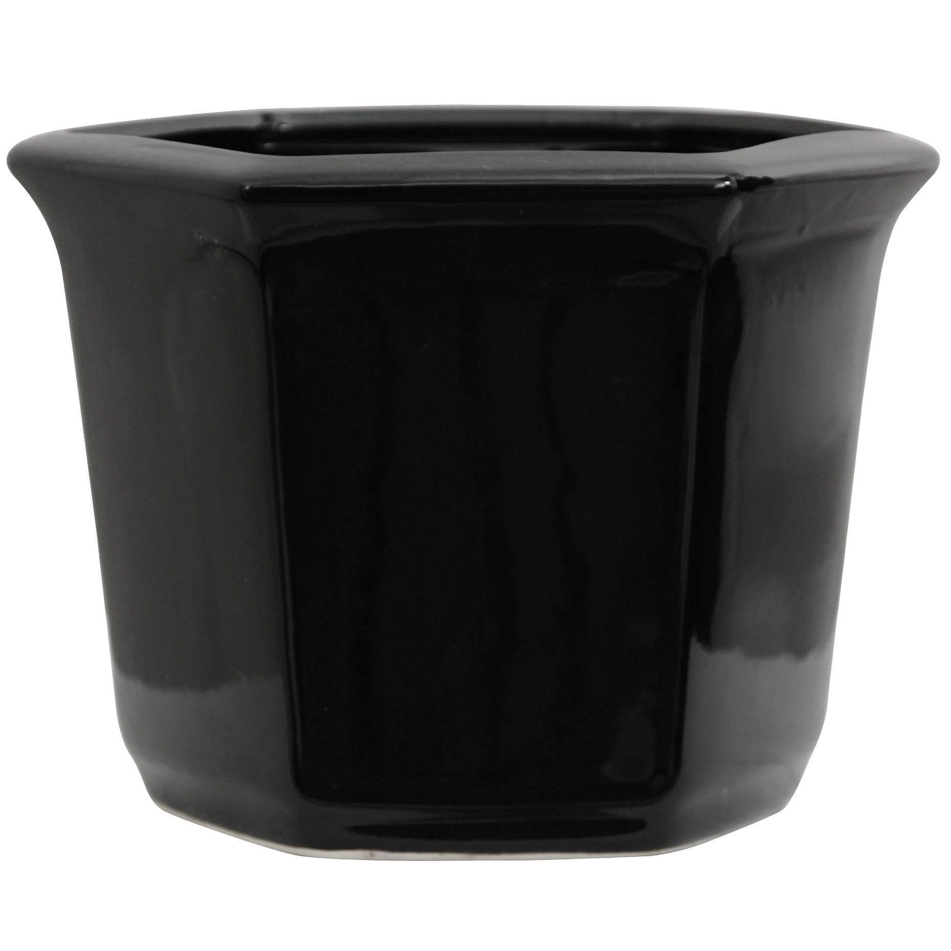 Handmade Porcelain 10-inch Solid Black Flower Pot Planter...