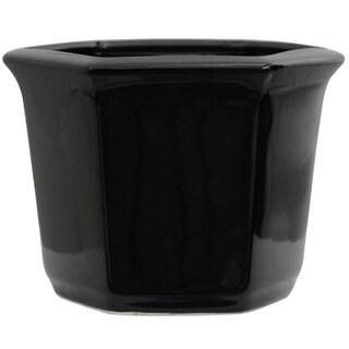 Handmade Porcelain 10-inch Solid Black Flower Pot Planter (China)