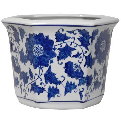 Handmade Porcelain Blue and White Flower Pot Planter