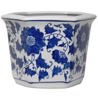 Handmade Porcelain Blue and White Flower Pot Planter (China)|https://ak1.ostkcdn.com/images/products/5675223/P13420926.jpg?impolicy=medium