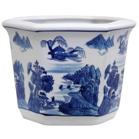 Handmade Porcelain Blue and White Landscape Flower Pot Planter (China)