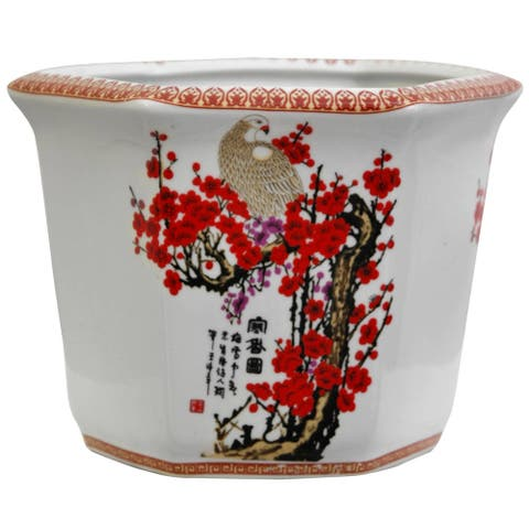 Handmade Porcelain Cherry Blossom Flower Pot Planter