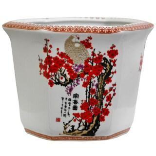 Handmade Porcelain Cherry Blossom Flower Pot Planter (China)