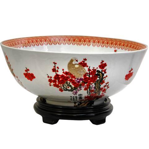 Handmade Porcelain 14-inch Cherry Blossom Bowl (China)