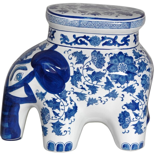 Handmade Porcelain 14 Inch Blue And White Elephant Floral