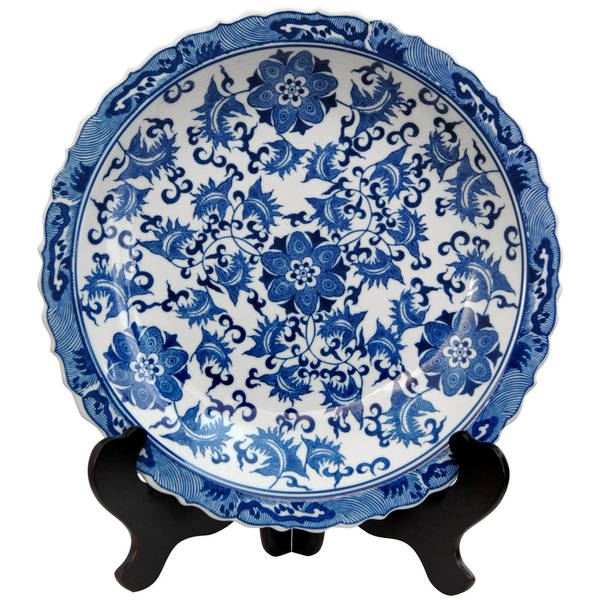 Handmade Porcelain 14-inch Blue and White Floral Plate (China)  sc 1 st  Overstock : blue and white plate set - pezcame.com