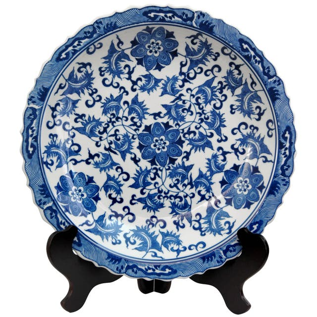 Porcelain 14-inch Blue and White Floral Plate
