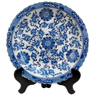 Porcelain 14-inch Blue and White Floral Plate (China)
