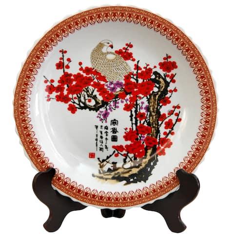 Handmade Porcelain 14-inch Cherry Blossom Plate (China)