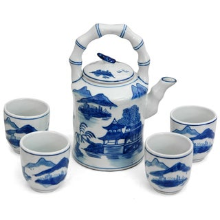 Handmade Porcelain Blue and White Landscape Tea Set (China, People's Republic of)