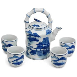 Handmade Porcelain Blue and White Landscape Tea Set (China)