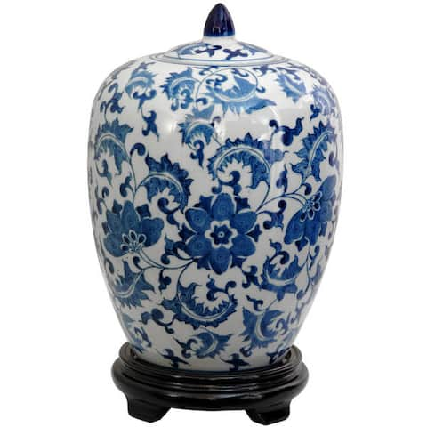 "Handmade 12"" Porcelain Blue and White Floral Vase Jar"