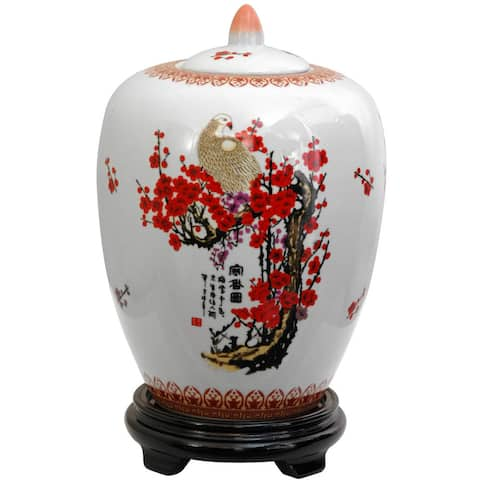 Handmade Porcelain 12-inch Cherry Blossom Vase Jar (China)