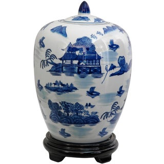 Handmade Porcelain 12-inch Blue and White Landscape Vase Jar (China)