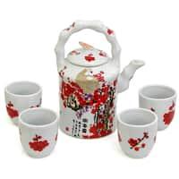 Handmade Porcelain Red and White Cherry Blossom Tea Set (China)