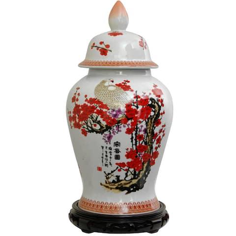 Handmade Porcelain 18-inch Cherry Blossom Temple Jar
