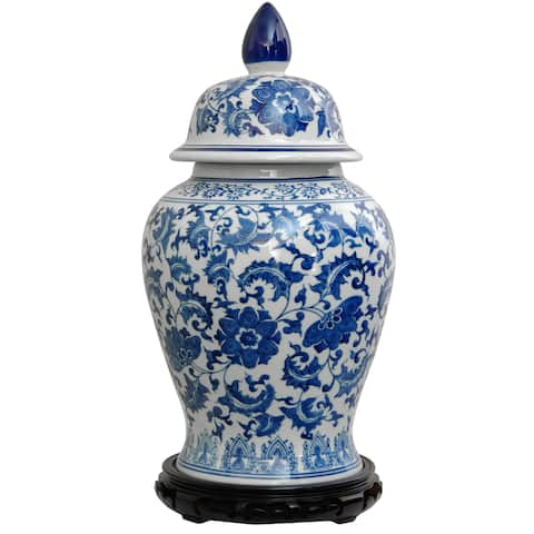 "Handmade 18"" Blue and White Floral Porcelain Temple Jar - 10""W x 10""D x 18.75""H"