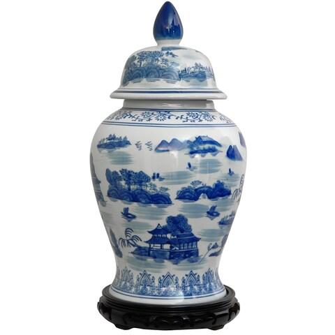 Porcelain 18-inch Blue and White Landscape Temple Jar (China)
