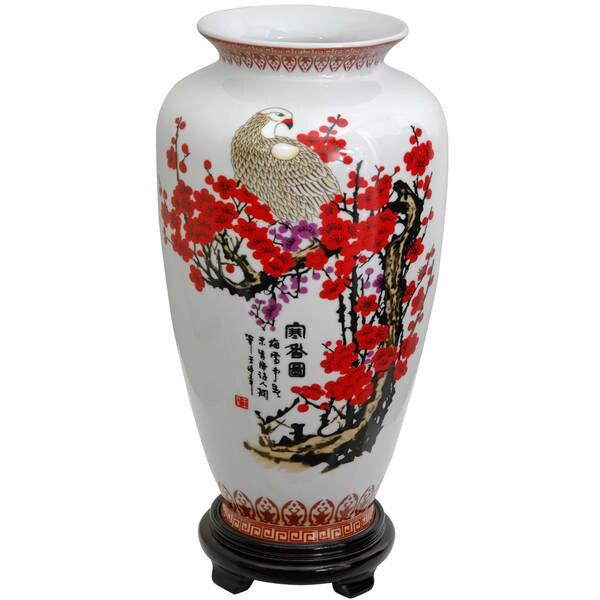"Handmade 14"" Porcelain Cherry Blossom Tung Chi Vase"