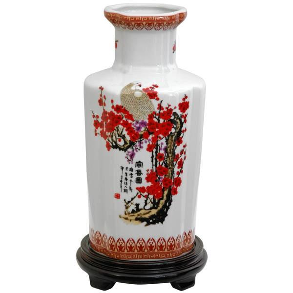 """Handmade 12"""" Porcelain Red and White Cherry Blossom Table Vase"""