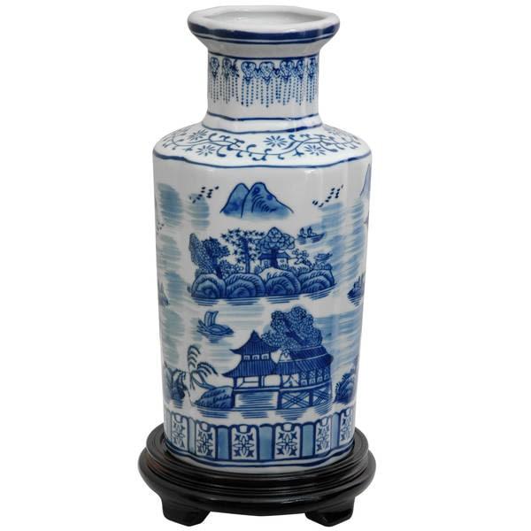 Handmade Porcelain 12-Inch Blue-and-White Landscape Vase (China)