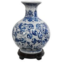 Handmade Porcelain 9-inch Round Blue and White Floral Vase (China)