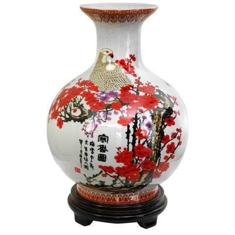 Porcelain 12-inch Red and White Cherry Blossom Vase (China)