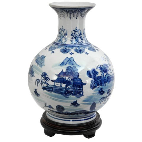 Handmade Porcelain 12-inch Blue and White Landscape Vase (China)