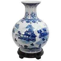 Handmade Porcelain 12-inch Blue and White Landscape Vase (China)