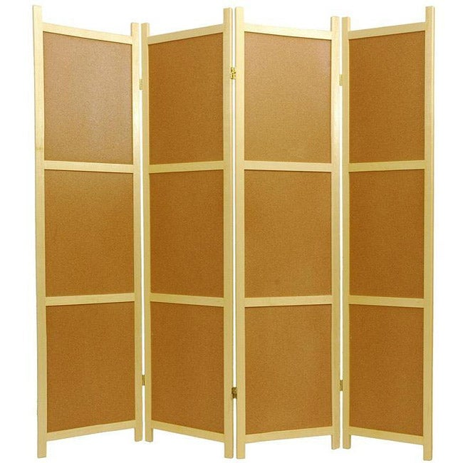 Handmade Wooden 6-foot 4-panel Cork Board Shoji Screen (China)
