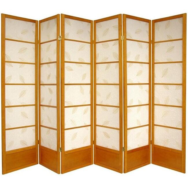 Wooden 6-foot 6-panel Botanic Shoji Screen (China)
