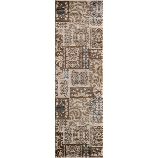 Illusion Power-loomed Damask Ivory Rug (2'3 x 7'6)