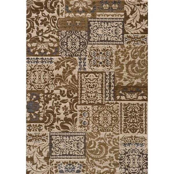 Illusion Power-loomed Damask Ivory Rug (5'3 x 7'6)